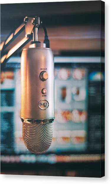 Microphones Canvas Print - Mic Check 1 2 3 by Scott Norris