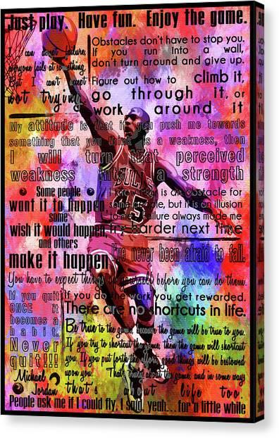 Three Pointer Canvas Print - Michael Air Jordan Motivational Inspirational Independent Quotes 3 by Diana Van