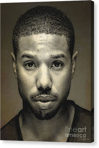 A Portrait Of Michael B. Jordan Canvas Print