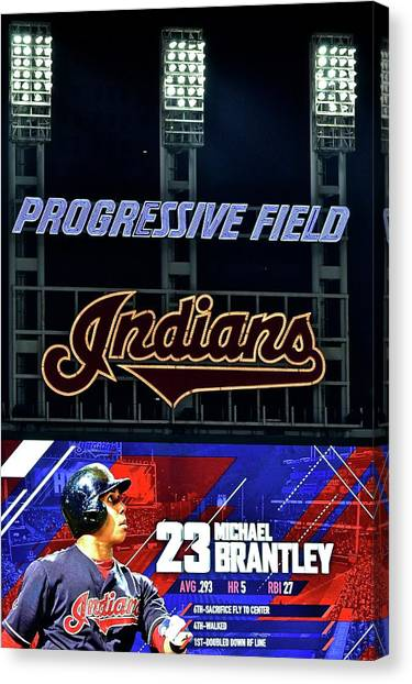 Cleveland Indians Canvas Print - Michael Brantley by Frozen in Time Fine Art Photography