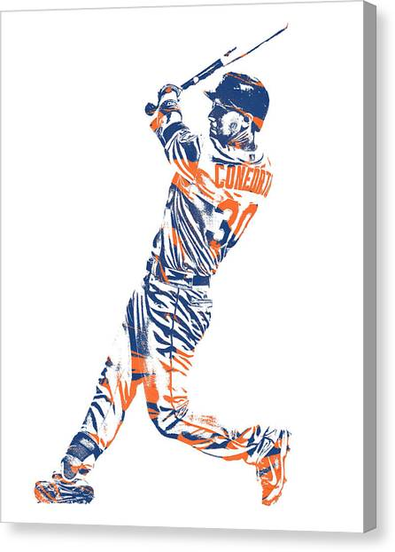 New York Mets Canvas Print - Michael Conforto New York Mets Pixel Art 1 by Joe Hamilton