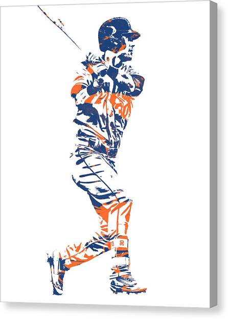 New York Mets Canvas Print - Michael Conforto New York Mets Pixel Art 2 by Joe Hamilton