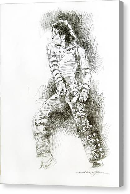 Michael Jackson - Onstage Canvas Print by David Lloyd Glover