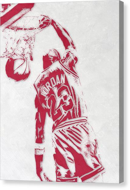 Chicago Bulls Canvas Print - Michael Jordan Chicago Bulls Pixel Art 1 by Joe Hamilton