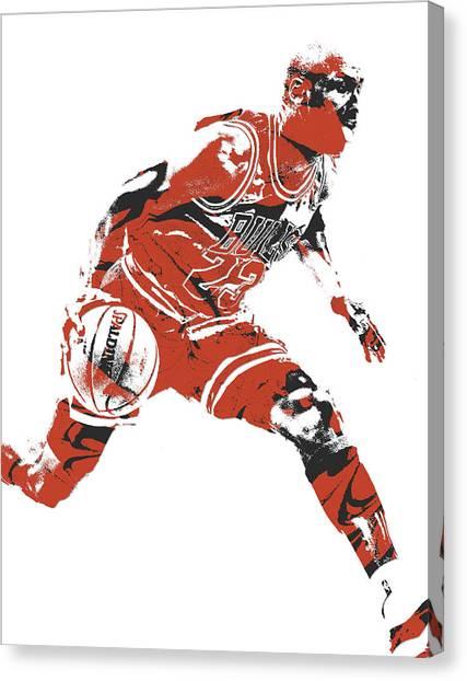 Chicago Bulls Canvas Print - Michael Jordan Chicago Bulls Pixel Art 10 by Joe Hamilton