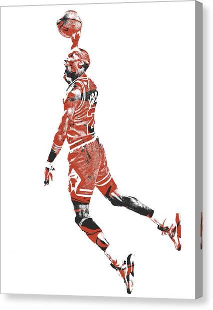 Chicago Bulls Canvas Print - Michael Jordan Chicago Bulls Pixel Art 11 by Joe Hamilton
