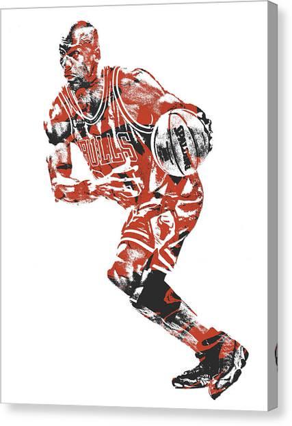 Chicago Bulls Canvas Print - Michael Jordan Chicago Bulls Pixel Art 12 by Joe Hamilton