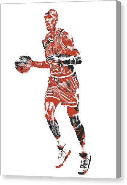 Chicago Bulls Canvas Print - Michael Jordan Chicago Bulls Pixel Art 14 by Joe Hamilton