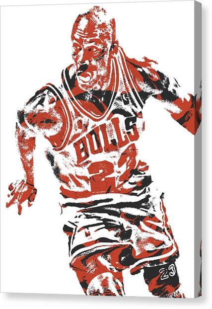 Chicago Bulls Canvas Print - Michael Jordan Chicago Bulls Pixel Art 15 by Joe Hamilton