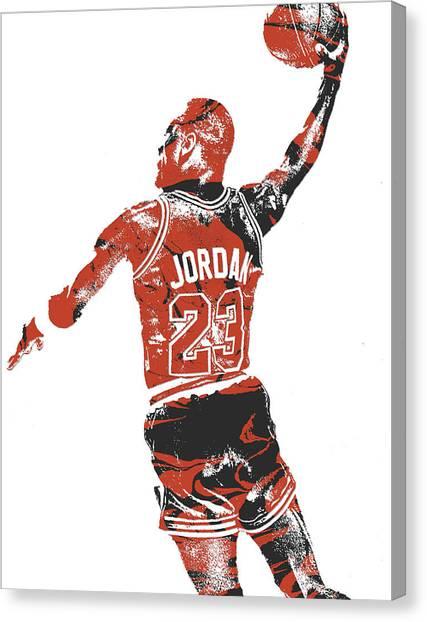 Chicago Bulls Canvas Print - Michael Jordan Chicago Bulls Pixel Art 16 by Joe Hamilton