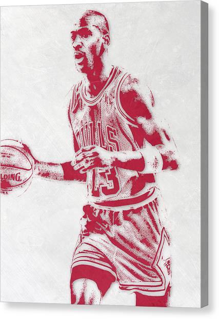 Chicago Bulls Canvas Print - Michael Jordan Chicago Bulls Pixel Art 2 by Joe Hamilton