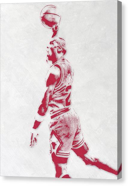 Chicago Bulls Canvas Print - Michael Jordan Chicago Bulls Pixel Art 3 by Joe Hamilton