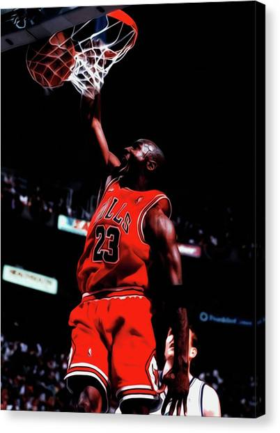 Utah Jazz Canvas Print - Michael Jordan Game Point by Brian Reaves