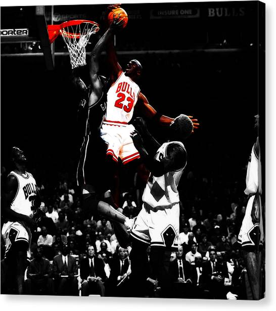 Russell Westbrook Canvas Print - Michael Jordan Gimme Dat by Brian Reaves