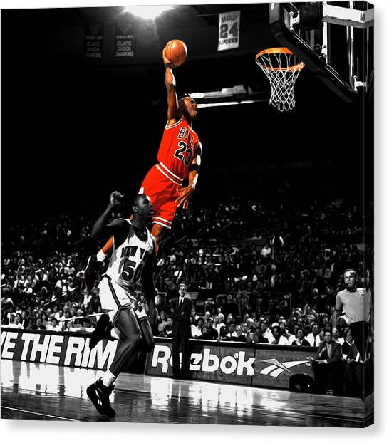Utah Jazz Canvas Print - Michael Jordan Suspended In Air by Brian Reaves