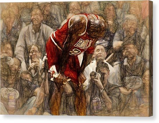 Chicago Bulls Canvas Print - Michael Jordan The Flu Game by John Farr