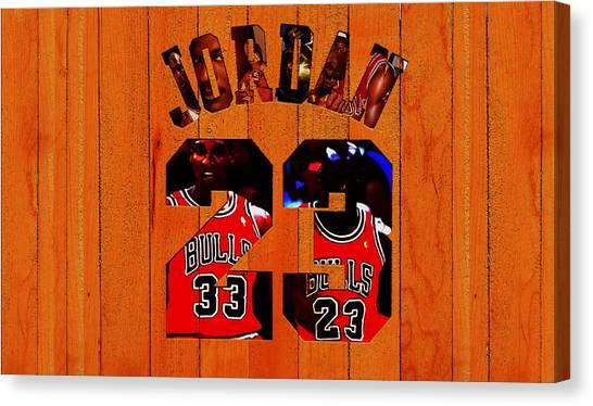 3889f8823281 Jumpman Canvas Print - Michael Jordan Wood Art 1b by Brian Reaves