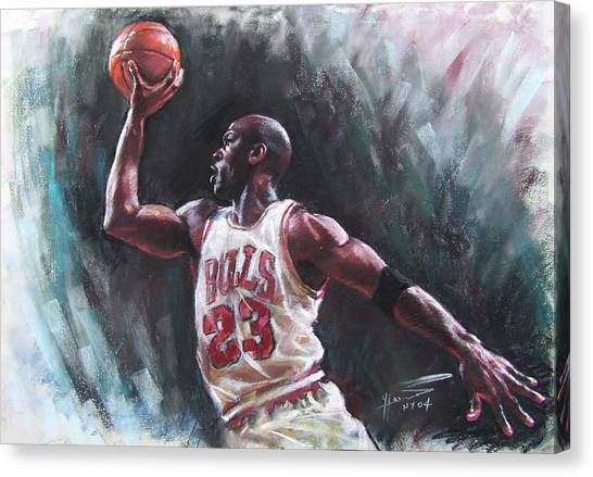 Athletes Canvas Print - Michael Jordan by Ylli Haruni