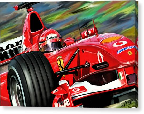 Formula Car Canvas Print - Michael Schumacher Ferrari by David Kyte