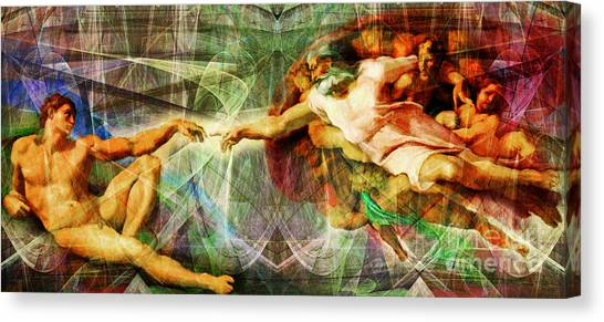 Michelangelo Simoni Canvas Print - Michelangelo The Creation Of Adam In Abstract Space 20150622 by Wingsdomain Art and Photography