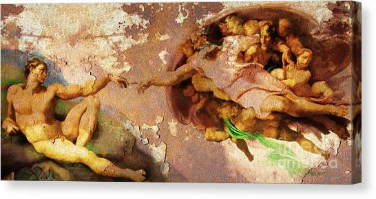 Michelangelo Simoni Canvas Print - Michelangelo The Creation Of Adam In Rust 20150622 by Wingsdomain Art and Photography