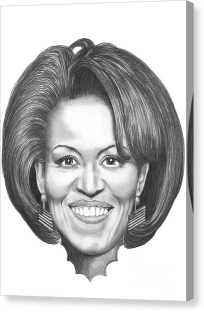 First Lady Canvas Print - Michelle Obama by Murphy Elliott
