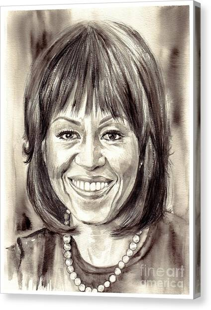 Princeton University Canvas Print - Michelle Obama Watercolor Portrait by Suzann's Art