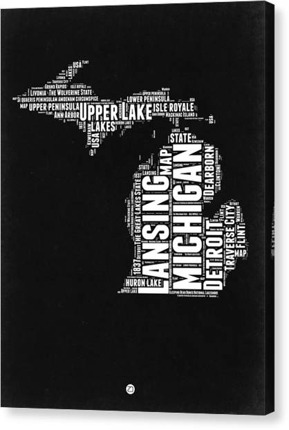Michigan Canvas Print - Michigan Black And White Word Cloud Map by Naxart Studio