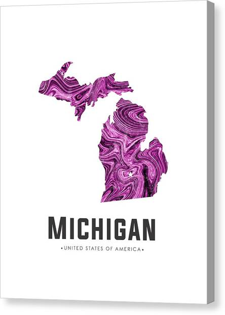 Michigan State University Canvas Print - Michigan Map Art Abstract In Purple by Studio Grafiikka