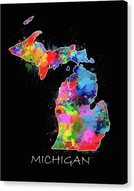 Detroit Tigers Canvas Print - Michigan Map Color Splatter 2 by Bekim Art