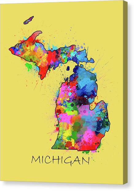 Detroit Tigers Canvas Print - Michigan Map Color Splatter 4 by Bekim Art