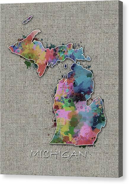 Detroit Tigers Canvas Print - Michigan Map Color Splatter 5 by Bekim Art