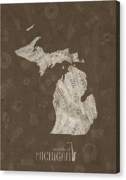 Detroit Tigers Canvas Print - Michigan Map Music Notes 3 by Bekim Art