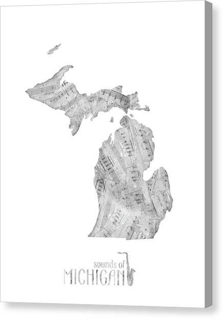 Detroit Tigers Canvas Print - Michigan Map Music Notes by Bekim Art