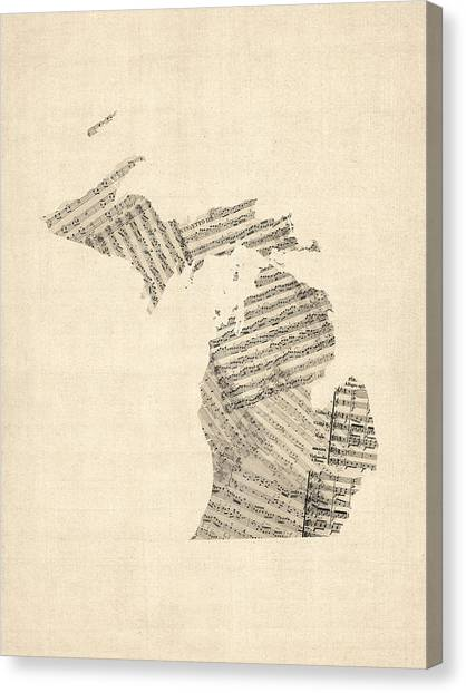 Michigan Canvas Print - Michigan Map, Old Sheet Music Map by Michael Tompsett