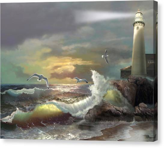 Water Scene Canvas Print - Michigan Seul Choix Point Lighthouse With An Angry Sea by Regina Femrite