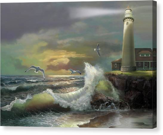 Michigan Canvas Print - Michigan Seul Choix Point Lighthouse With An Angry Sea by Regina Femrite