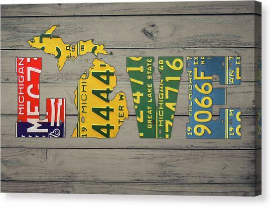 Michigan State University Canvas Print - Michigan State Love Heart License Plates Art Phrase by Design Turnpike