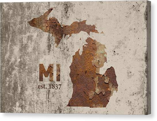Michigan State Canvas Print - Michigan State Map Industrial Rusted Metal On Cement Wall With Founding Date Series 005 by Design Turnpike