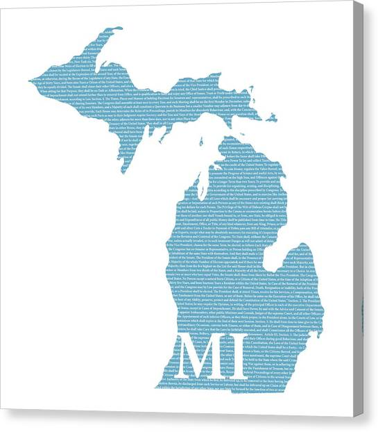 Michigan State Canvas Print - Michigan State Map With Text Of Constitution by Design Turnpike