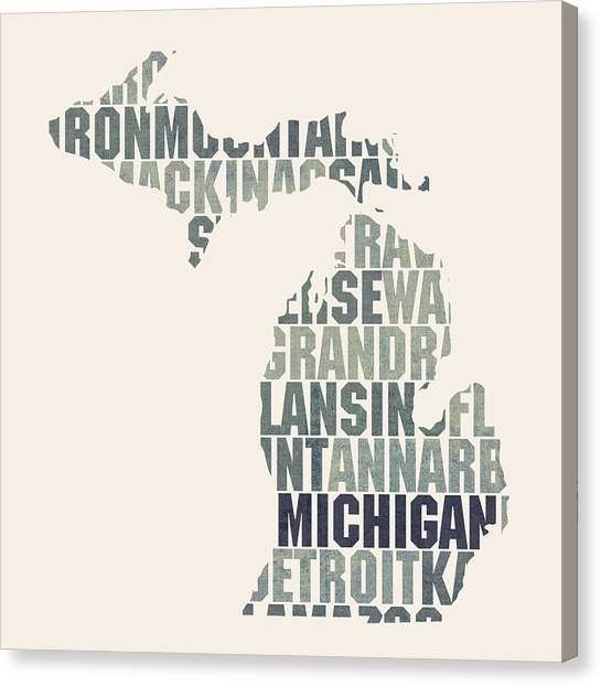 Michigan State University Canvas Print - Michigan State Outline Word Map by Design Turnpike