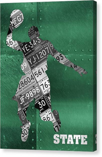Michigan State University Canvas Print - Michigan State Spartans Basketball Player Recycled Michigan License Plate Art by Design Turnpike