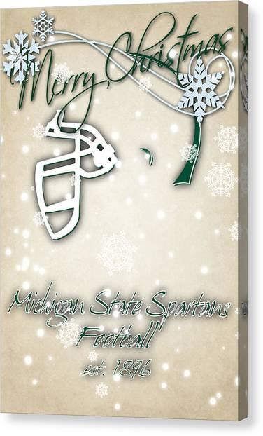 Michigan State University Canvas Print - Michigan State Spartans Christmas Card 2 by Joe Hamilton
