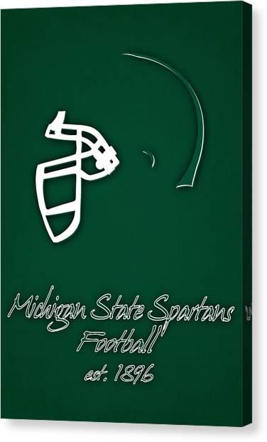 Michigan State University Canvas Print - Michigan State Spartans Helmet by Joe Hamilton