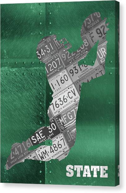 Michigan State University Canvas Print - Michigan State Spartans Receiver Recycled Michigan License Plate Art by Design Turnpike