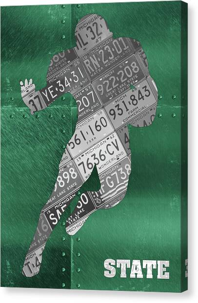 Michigan State University Canvas Print - Michigan State Spartans Running Back Recycled Michigan License Plate Art by Design Turnpike