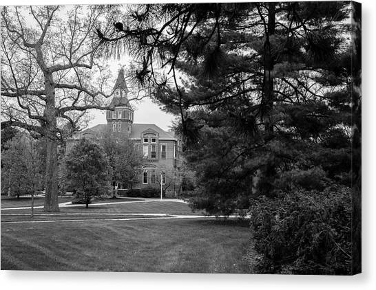 Michigan State Canvas Print - Michigan State University Campus Black And White  by John McGraw