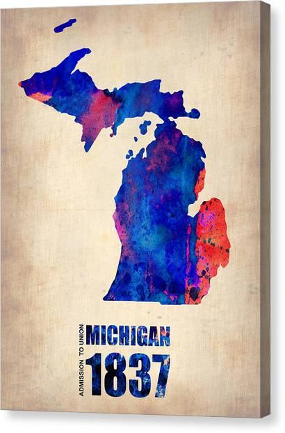 Michigan Canvas Print - Michigan Watercolor Map by Naxart Studio