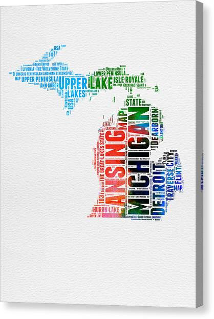 Detroit Canvas Print - Michigan Watercolor Word Cloud by Naxart Studio