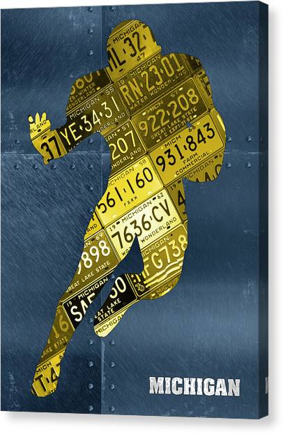 Running Backs Canvas Print - Michigan Wolverines Running Back Recycled Michigan License Plate Art by Design Turnpike